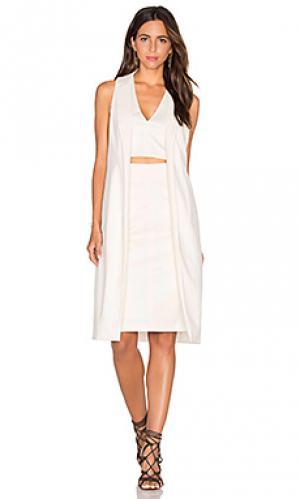Платье миди rachel VIVIAN CHAN. Цвет: белый