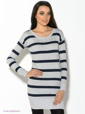 Платье Oodji. Цвет: серый меланж, темно-синий