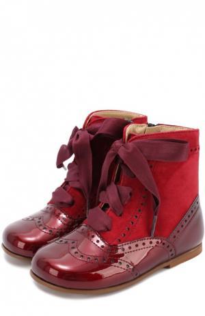 Комбинированные ботинки с брогированием Clarys. Цвет: бордовый