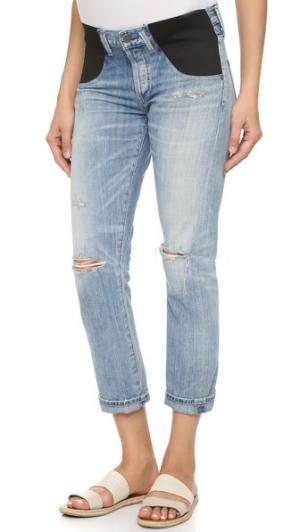 Узкие джинсы-бойфренды Emerson для беременных Citizens of Humanity. Цвет: эффект поношенности