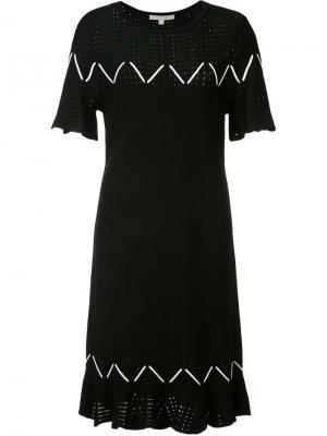 Трикотажное платье с перфорацией Jonathan Simkhai. Цвет: чёрный