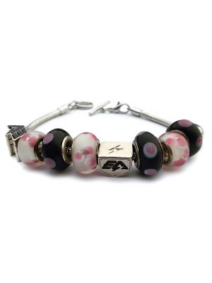 Браслет Womens Charm Bracelet Black and Purple Energyarmor. Цвет: серебристый, фиолетовый