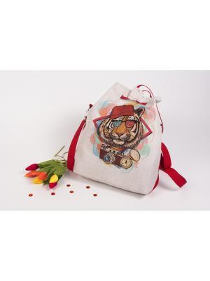 Сумка из холста с нанесенным рисунком и подкладкой Хиппи Матренин Посад. Цвет: серый, бежевый, красный
