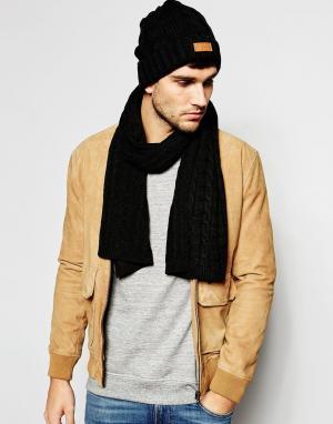 7X Шапка-бини и шарф с косами. Цвет: черный