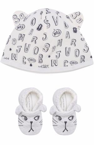 Хлопковый комплект из пинеток и шапки с принтом Marc Jacobs. Цвет: серый