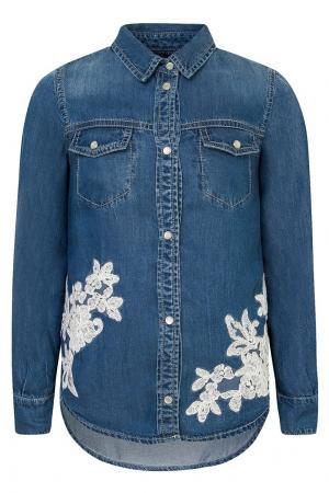 Джинсовая рубашка с вышивкой Ermanno Scervino Children. Цвет: синий