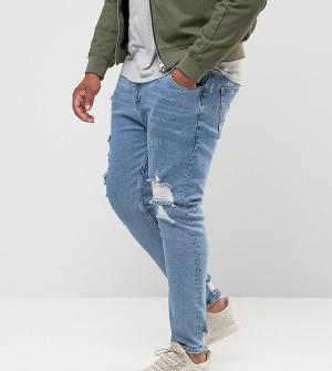 ASOS Голубые джинсы скинни с рваной отделкой PLUS. Цвет: синий