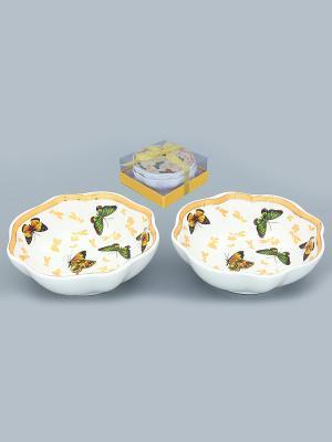 Розетка для варенья Бабочки Elan Gallery. Цвет: золотистый, белый, коричневый