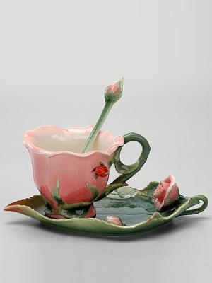 Чайная пара Роза Pavone. Цвет: зеленый, розовый