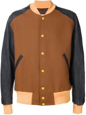 Куртка-бомбер дизайна колор-блок Maison Margiela. Цвет: коричневый