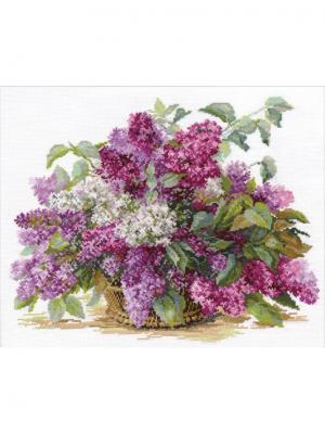 Набор для вышивания Сирень 41х32 см , Алиса. Цвет: белый, темно-синий, зеленый, темно-фиолетовый, коричневый, фиолетовый