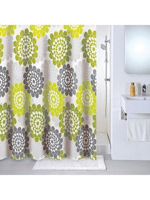 Штора для ванной Milardo. Цвет: белый, зеленый, серый