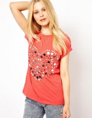 Свободная футболка с зеркальным сердцем Sauce. Цвет: коралловый