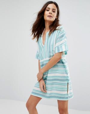 Echo Пляжное платье в полоску. Цвет: золотой