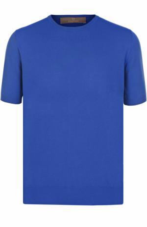 Хлопковый джемпер с короткими рукавами Cruciani. Цвет: голубой