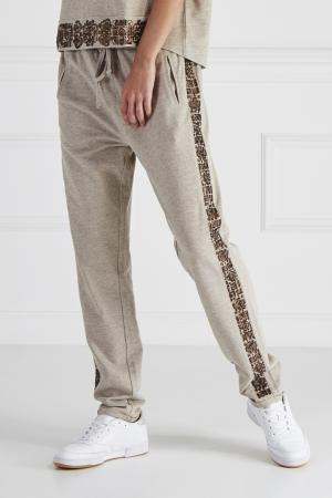 Хлопковые брюки с отделкой HOSS INTROPIA. Цвет: серый