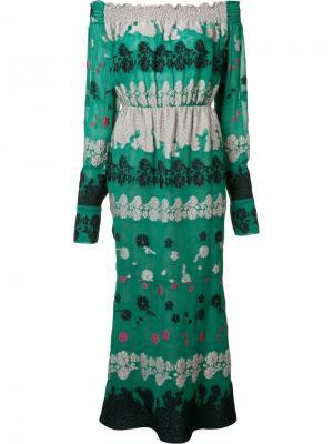 Платье Daisy с открытыми плечами Yigal Azrouel. Цвет: зелёный
