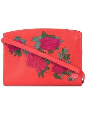 Сумка на плечо с цветочными нашивками Lizzie Fortunato Jewels. Цвет: красный