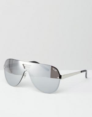 Quay Australia Солнцезащитные очки-авиаторы Showtime. Цвет: серебряный