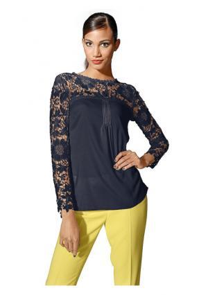 Кружевная блузка PATRIZIA DINI. Цвет: серо-коричневый, темно-синий, черный, экрю