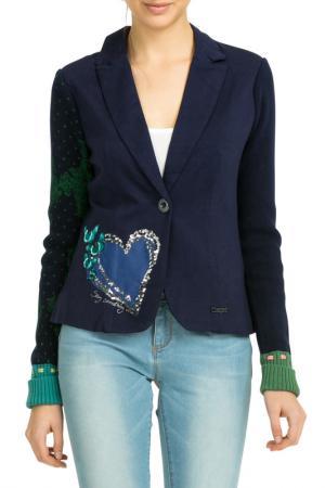 Жакет Desigual. Цвет: dark blue, blue, green