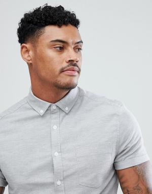 ASOS Светло-серая оксфордская рубашка скинни с короткими рукавами. Цвет: серый