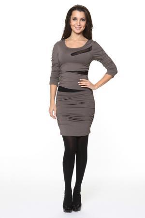 Платье с драпировкой и прозрачными вставками Piamente. Цвет: коричневый