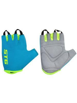 Велоперчатки STG. Цвет: голубой