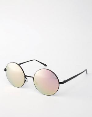 Quay Australia Круглые солнцезащитные очки с зеркальными стеклами Elec. Цвет: черный