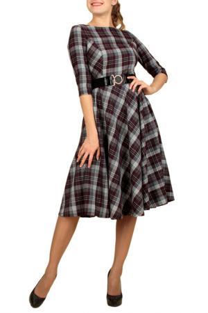 Платье в клетку Lamiavita. Цвет: серый, бордовый