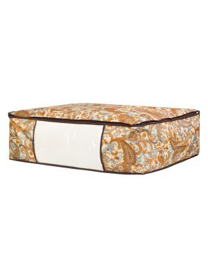 Кофр для хранения одеял и пледов Перо павлина EL CASA. Цвет: коричневый, бежевый, голубой, оранжевый