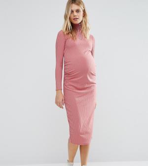 Bluebelle Maternity Платье миди для беременных в рубчик с молнией. Цвет: розовый