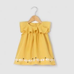 Платье с воланами на рукавах, 1 мес.-3 лет R mini. Цвет: желто-коричневый
