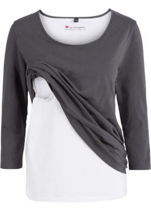 Мода для беременных: футболка с функцией кормления (шиферно-серый) bonprix. Цвет: шиферно-серый