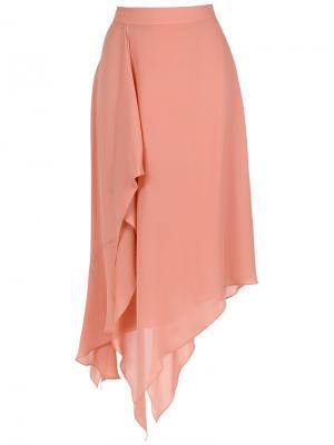 Silk midi skirt Giuliana Romanno. Цвет: телесный