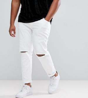 ASOS Белые джинсы скинни с рваной отделкой PLUS. Цвет: белый