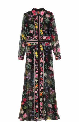 Платье-макси с ярким цветочным принтом Tadashi Shoji. Цвет: черный