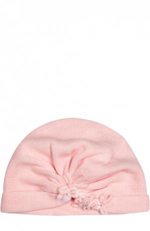 Вязаная шапка с декором Il Trenino. Цвет: розовый