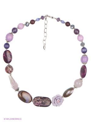 Колье Роман с камнем. Цвет: сиреневый, фиолетовый, коричневый, серебристый