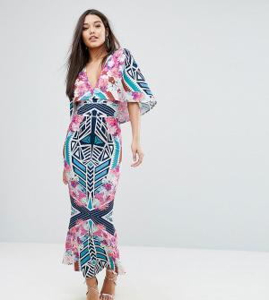 Ginger Fizz Платье макси с абстрактным цветочным принтом и кейпом. Цвет: мульти