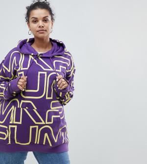 Puma Худи фиолетового цвета с логотипом эксклюзивно для ASOS Plus. Цвет: фиолетовый