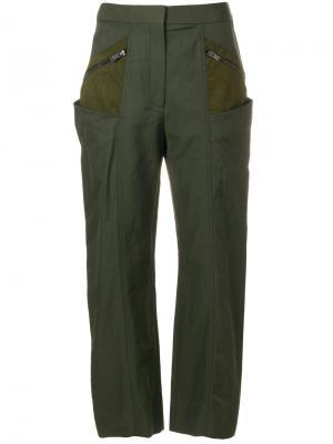 Укороченные брюки с контрастными карманами Stella McCartney. Цвет: зелёный