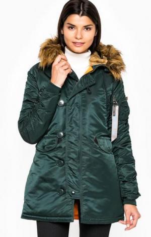 Удлиненная зеленая куртка из нейлона Alpha Industries. Цвет: зеленый