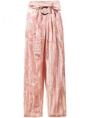 Бархатные широкие брюки Beatrice Rejina Pyo. Цвет: розовый и фиолетовый