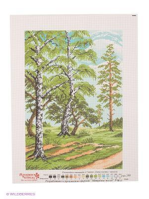 Рисунок на канве Русские березы Матренин Посад. Цвет: зеленый, голубой