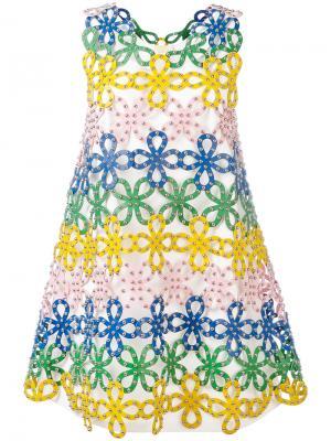 Кружевное платье макраме Sara Battaglia. Цвет: многоцветный