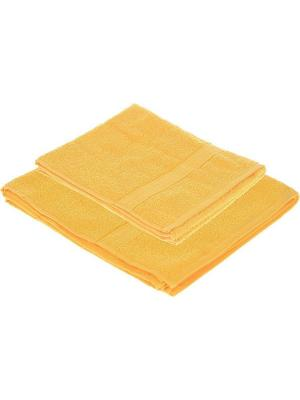 Набор из 2х махровых полотенец желтый - 50*90, 70х140, УзТ-НПМ-102-21 Aisha. Цвет: желтый