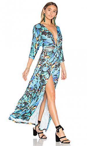 Mesh long dress AGUADECOCO. Цвет: синий