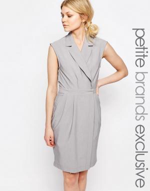 Alter Petite Платье без рукавов с лацканами. Цвет: серый