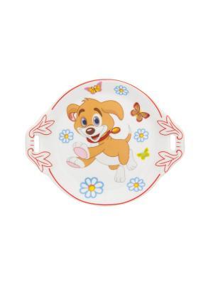 Тарелочка под лимон Щенок с бабочками в цветах Elan Gallery. Цвет: белый, бежевый, красный